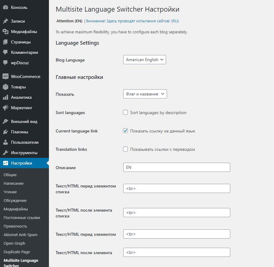 Multisite language switcher options